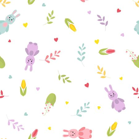 Cute cartoon bunnies, twigs, hearts, spring flowers. Seamless colorful vector pattern. Ilustracja