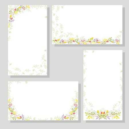 Set of four cards with flowers and branches, with leaves for festive design and decoration. Isolated color vector.