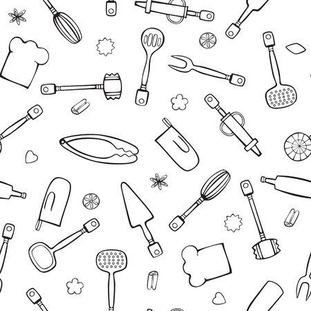 Küche und Kochutensilien schwarz-weiß lineare nahtlose Vektorhandzeichnung.