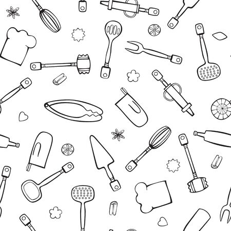 Kitchen and cooking utensils black and white linear seamless vector hand-drawing.