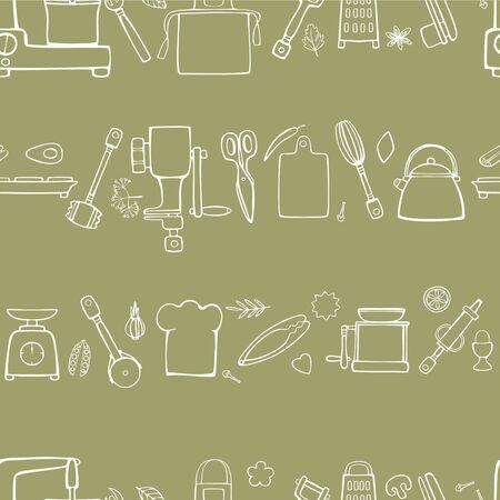 Equipo de cocina y utensilios de cocina. Patrón de vector horizontal sin fisuras. Dibujo lineal a mano sobre un fondo verde oliva.