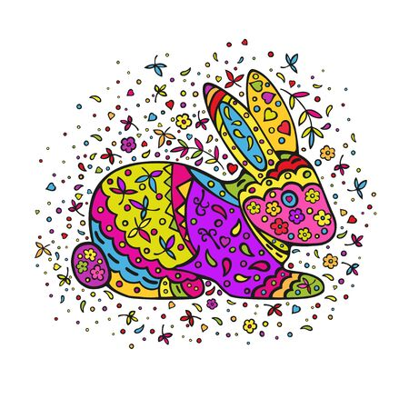 Cartoon rabbit, decorated with ornaments. Coloring page. Vector color doodling isolated on a white background. Иллюстрация