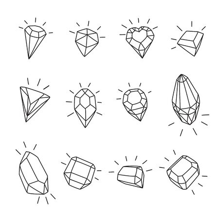 Set of 12 cartoon gems icons. Black and white vector illustration isolated for coloring and design.
