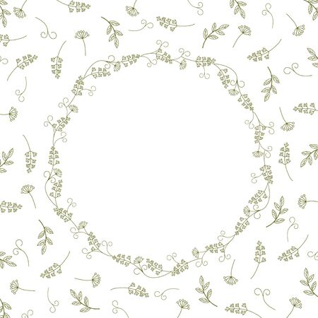 Card with vintage wreath on a background of branches, leaves and antennae. Vintage vector pattern.