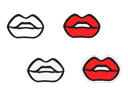 Set of isolated lips icons. Vector hand drawing on white background.