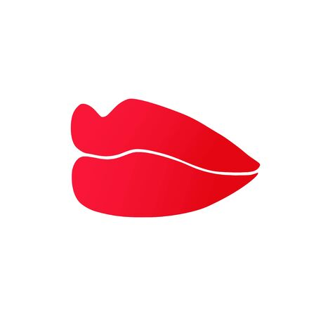 Vector illustration of red lips in perspective. Icon of beautiful lips isolated on white background.