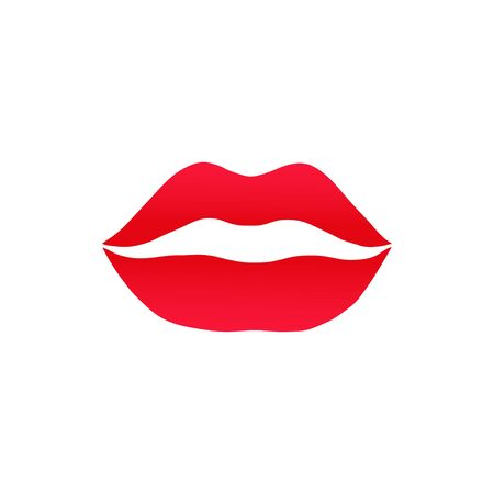 Vector illustration of red lips. Icon kiss isolated on white background.