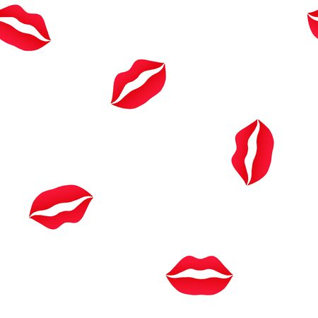 Red lips. Vector seamless pattern on white background.