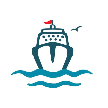 Sea vessel, waves, seagull. Vector color icon in cartoon style. Hand drawing isolated on a white background. Ilustracja
