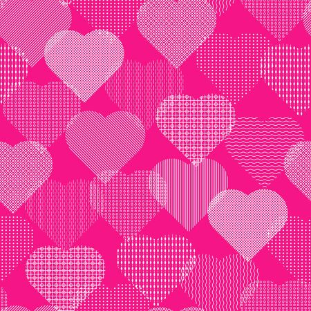Hearts with various geometric ornaments. Seamless vector illustration on a pink background.