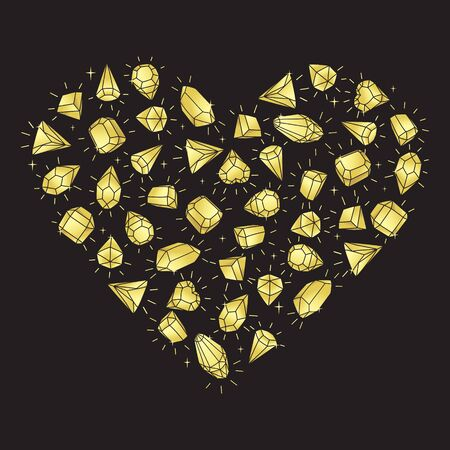 Gold color gemstones heart on a black background. Cartoon hand drawing. Isolated vector illustration.