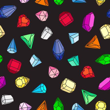 Gems. Seamless vector pattern of bright multi-colored gems and crystals on a black background. Cartoon hand drawing.