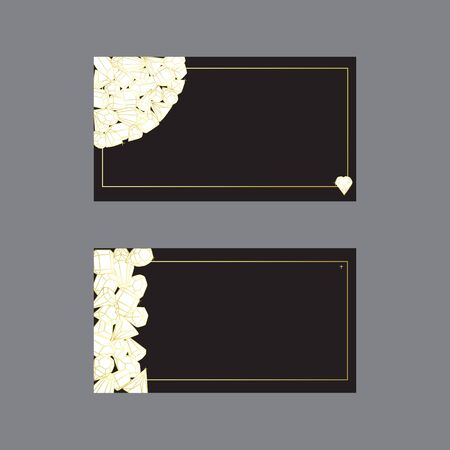 Business cards templates illustrated with crystals and precious stones. Set of isolated vectors with a golden gradient on a black background.