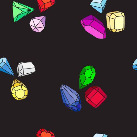 Crystals and gems. Seamless vector pattern of bright multi-colored gems and crystals on a black background. Cartoon hand drawing. Zdjęcie Seryjne - 140286435