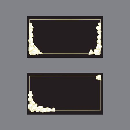 Business cards and invitation templates illustrated with crystals and precious stones. Set of isolated vectors with a golden gradient on a black background.