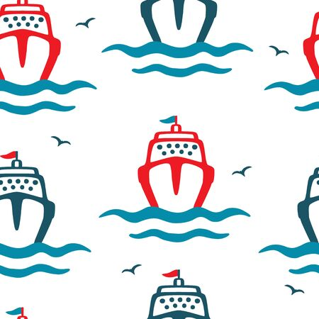 Cartoon Sea liners and seagulls. Seamless color vector pattern on a white background. Ilustracja