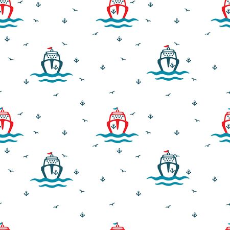 Cartoon Sea liners, anchors, seagulls. Seamless color vector pattern on a white background.
