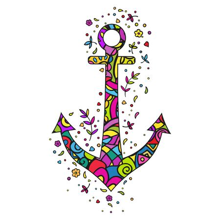 Ship anchor. Color Doodling. Isolated vector on white background.
