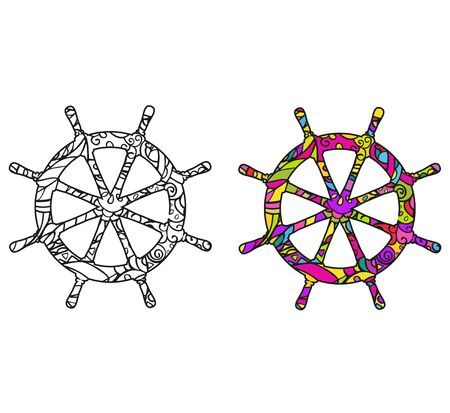 Template for coloring book. Ship's steering wheel. Isolated color and black and white vector graphics on a white background.