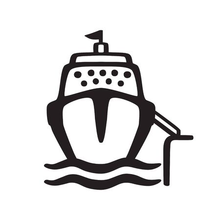 Sea cruise ship with a ramp at the coastal pier. Cartoon icon isolated on a white background.