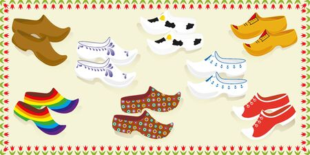 Card with set from wooden shoes. Isolated vector illustration.