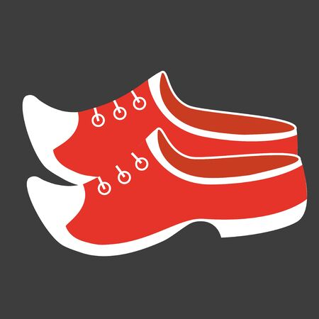 Netherlands. Vector illustration of a modern concept of traditional wooden shoes. Isolated on dark background.