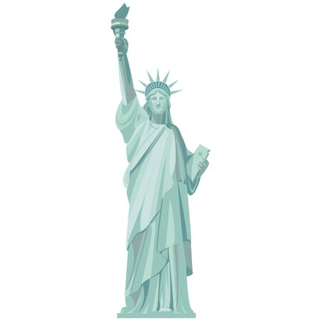 Graphic detailed drawing of the Statue of Liberty. Vector isolated on white background. 矢量图片