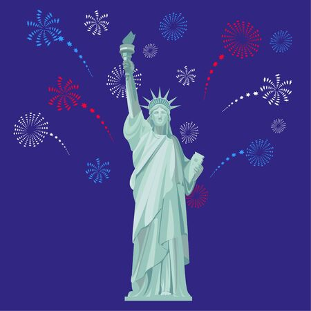 Statue of Liberty on the background of the night sky with fireworks. Ilustracja