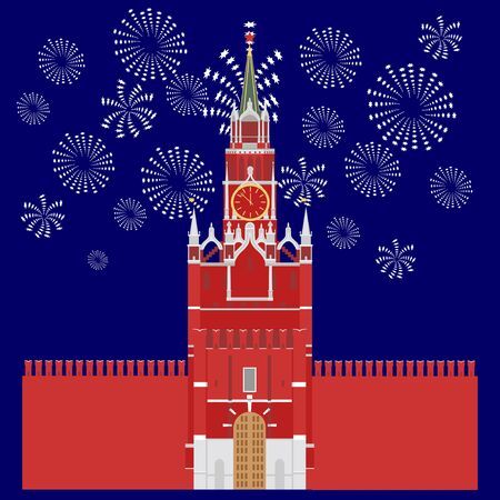 Image of the Kremlin Tower on the background of fireworks. Illustration