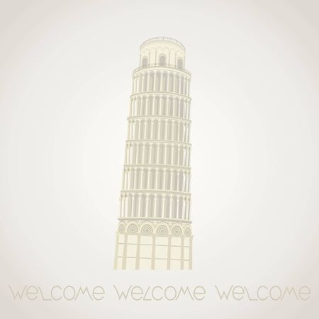 Leaning Tower of Pisa. Vector detailed illustration.