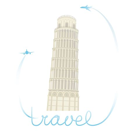 Leaning Tower of Pisa with airplanes and hand lettering. Vector illustration.