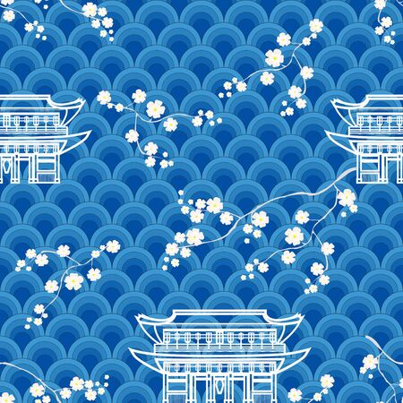Asian color seamless vector with cherry blossoms, waves, traditional houses.