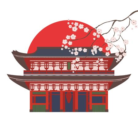 A color image of a traditional Eastern architecture building with a cherry blossom branch. Vecteurs