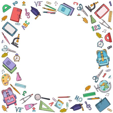 Round frame of school supplies. Vector colorful illustration. Hand drawings isolated on white background. Ilustracja
