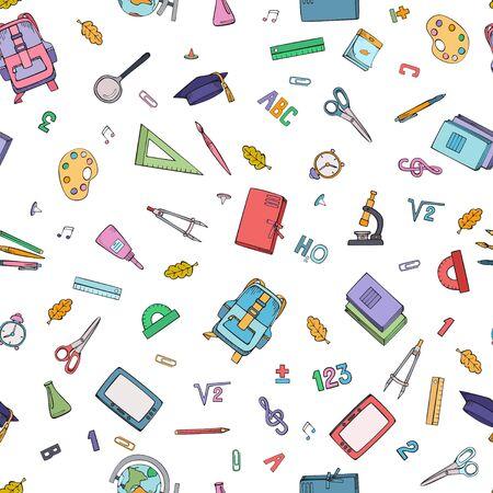 School supplies. Seamless handmade design. Vector colorful illustration. Ilustracja