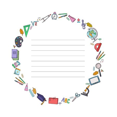 Set of school supplies. Sample cover with a round frame for notebook. Vector illustration.