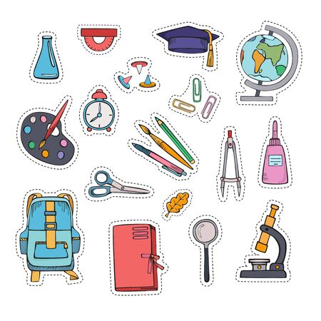School supplies. Set of cartoon stickers. Vector hand colored drawing.