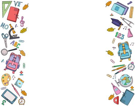 Set of vertical ornaments of school supplies. Vector colorful illustration. Hand drawings isolated on white background.
