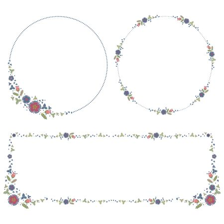 Round and rectangular frames, decor with a banner of stylized wildflowers and leaves. Set of vector design elements isolated on white background.