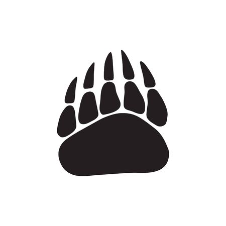 The footprint of a bear. Vector icon isolated on white background. One-color drawing in a flat style.