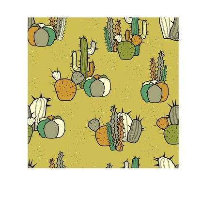 Cartoon decorative stylized cacti. Vector seamless pattern.