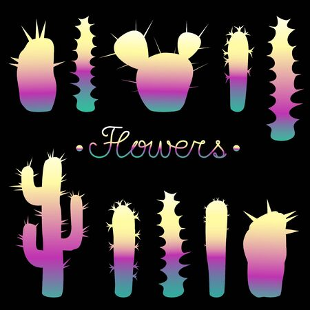 seamless, types of cacti, background, decorative, desert plants, vegetable, illustration, varieties, succulents, flat, desert, points, thorns, stylized, group, nature, green, vector, endless, wallpaper, textile, fabric, wrapping paper, bright contrasting