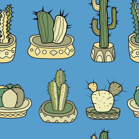 Cacti in the pots. Seamless colorful vector horizontal pattern in cartoon style. Ilustracja