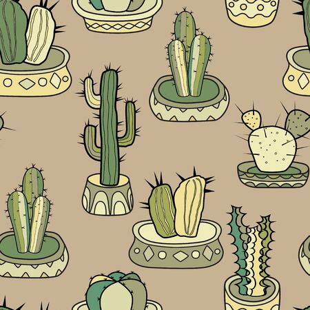 Cacti in the pots. Seamless colorful vector pattern in cartoon style.