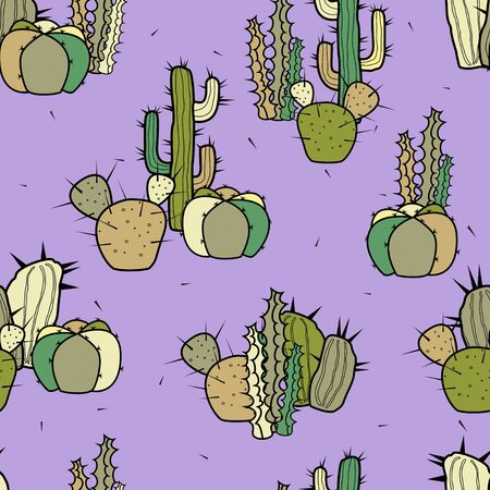 Groups of different types of decorative stylized cacti on a purple background. Vector seamless pattern.