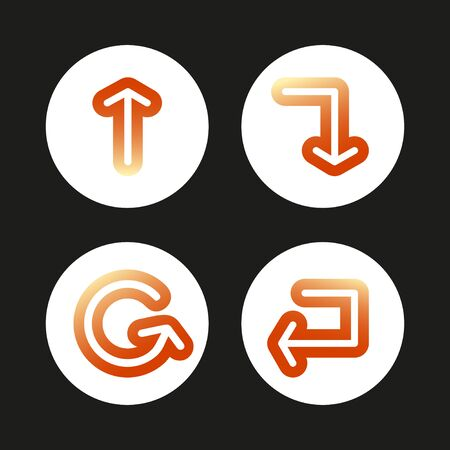 Set of gradient signs arrows icons. Vector isolated buttons on black background. Ilustracja