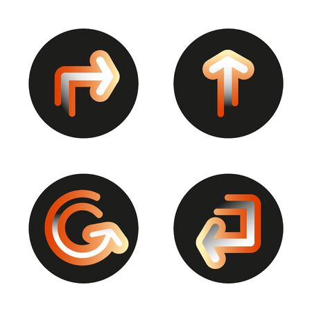 Set of gradient signs arrows icons. Vector isolated buttons on white background.