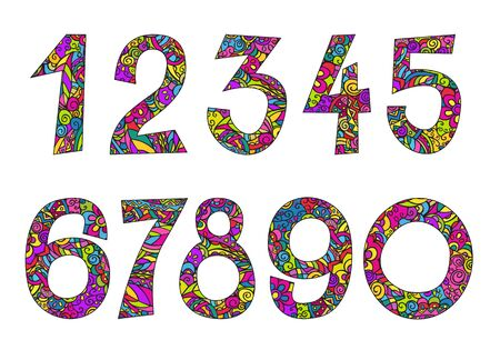 Numbers 0-9. Hand drawing color doodling vector icons set. Isolated illustration on a white background.