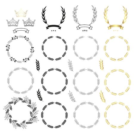 Set of wreaths, branches with leaves, ribbons and crowns. Black and gold icons isolated on white background. Vector illustration.