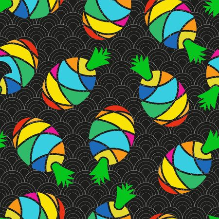 Bright stylized pineapples on a black and white background. Seamless vector.